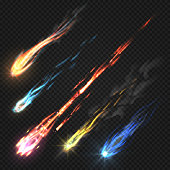 Sky comets and meteorite, rocket trails isolated on dark transparent background