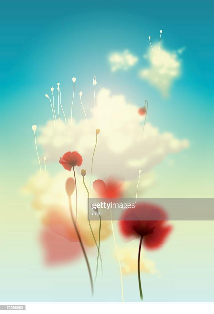 sky flowers : stock illustration