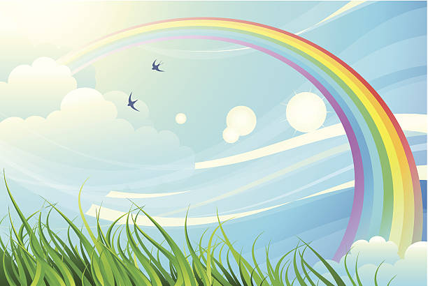 sky, grass, rainbow - rainbow stock illustrations