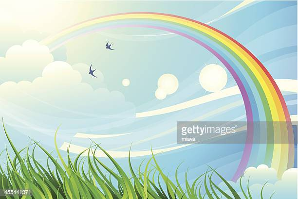 sky, grass, rainbow - rainbow stock illustrations, clip art, cartoons, & icons