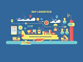 Sky logistics design flat