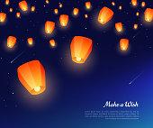 Sky paper lanterns at night