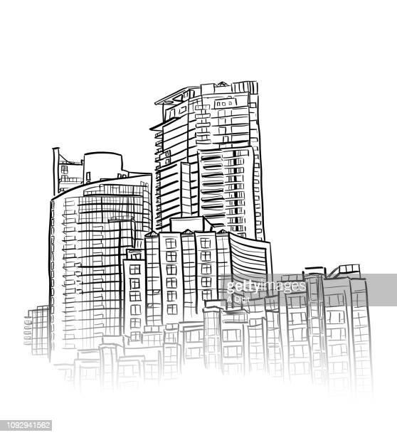 sky rise apartments - skyscraper stock illustrations