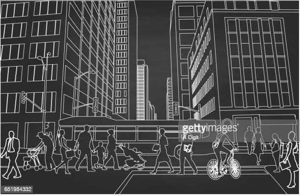 sky scraper downtown - pedestrian stock illustrations, clip art, cartoons, & icons