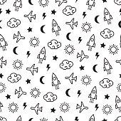 Sky seamless pattern. Vector.