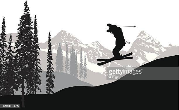 Sky Skiing Vector Silhouette