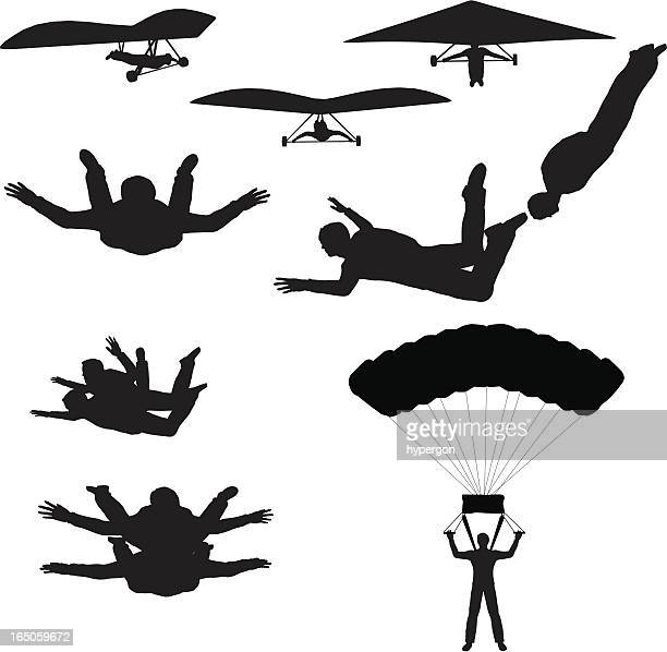 sky sports silhouette collection (vector+raster) - paratrooper stock illustrations, clip art, cartoons, & icons