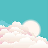 Sky with beautifull clouds and sunrise.Vector nature background