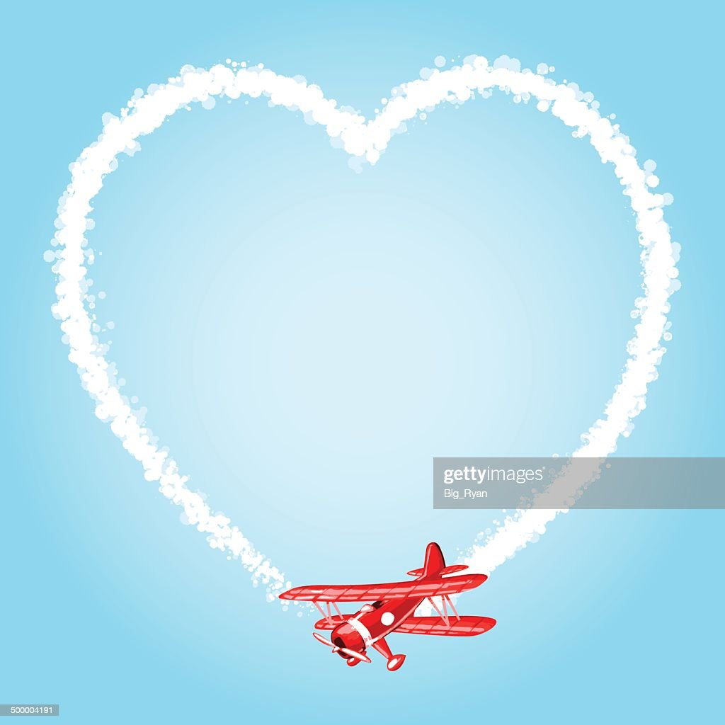 sky writer heart : stock illustration