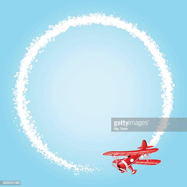sky writing - biplane stock illustrations, clip art, cartoons, & icons