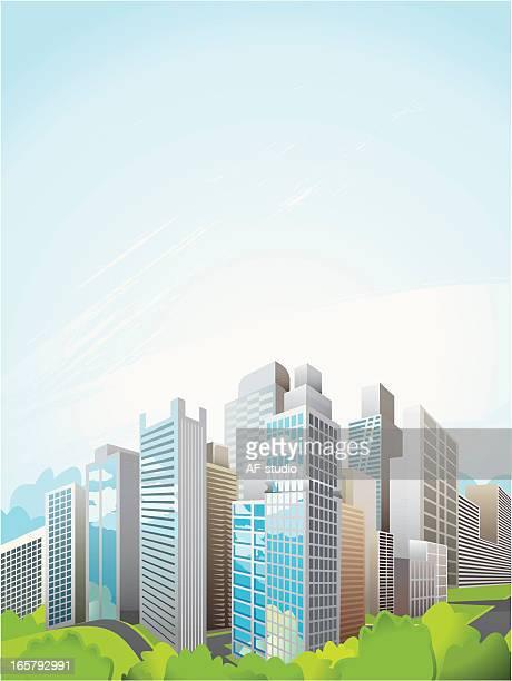 ilustraciones, imágenes clip art, dibujos animados e iconos de stock de skycrapers; escena urbana - vista de ángulo bajo