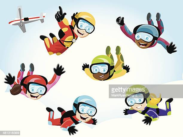 skydivers - long jump stock illustrations