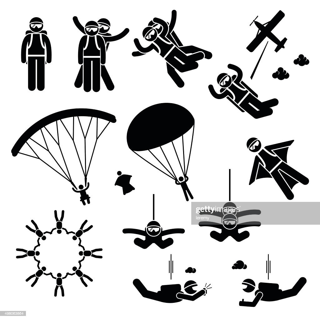 Skydiving Skydives Skydiver Parachute Wingsuit Freefall Freefly Pictogram
