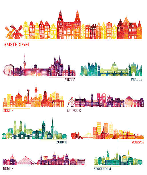 Skyline Detailed Silhouette Set (Amsterdam, Vienna, Prague, Berlin, Brussels, Zurich) Wall Art
