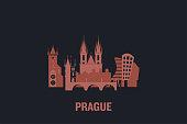 Skyline illustration of Prague. Flat vector design.