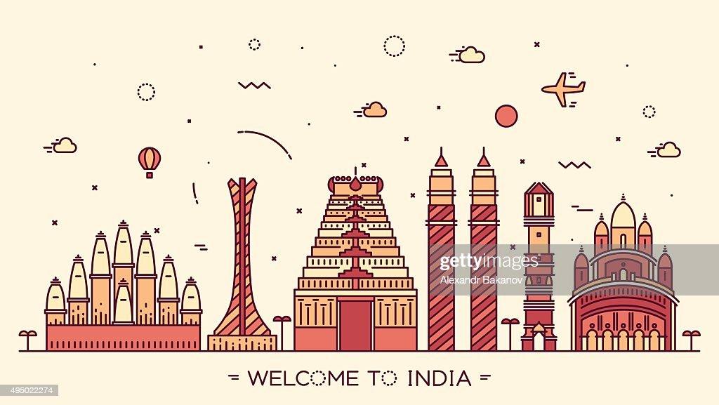 Skyline India silhouette illustration linear