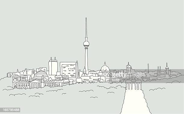skyline of berlin - sketch - brandenburg gate stock illustrations, clip art, cartoons, & icons