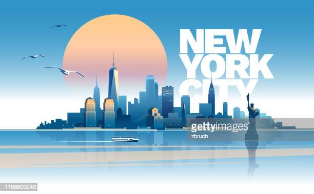 skyline of new york city - new york state stock illustrations
