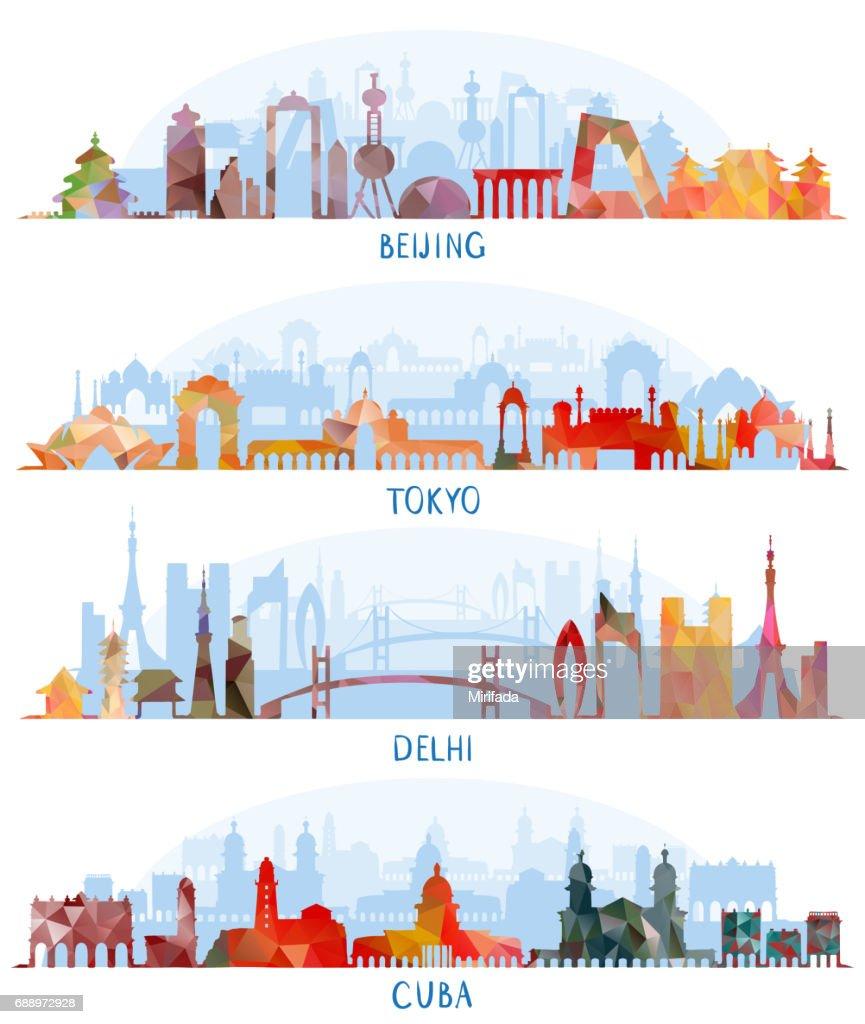 Skyline silhouette set (Beijing, Tokyo, New Delhi, Cuba)