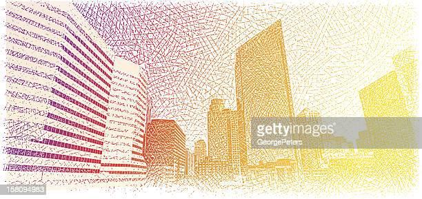 illustrations, cliparts, dessins animés et icônes de la ville au lever du soleil - ville futuriste