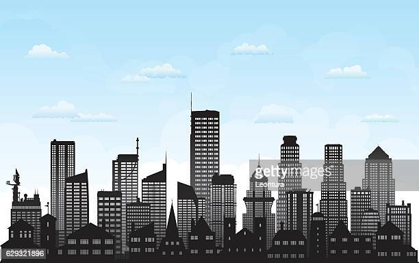 skyline (all buildings are complete and moveable) - generic description stock illustrations, clip art, cartoons, & icons