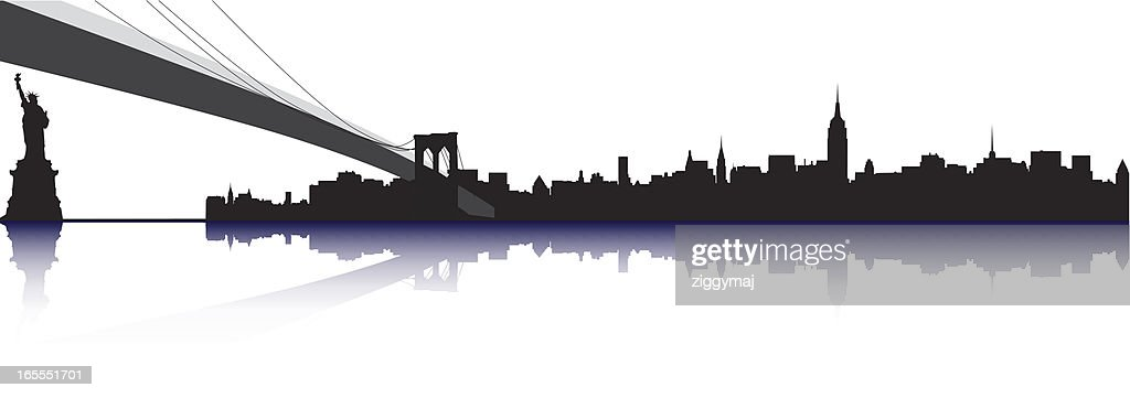 ny skyline with brooklyn bridge and statue vector art getty images