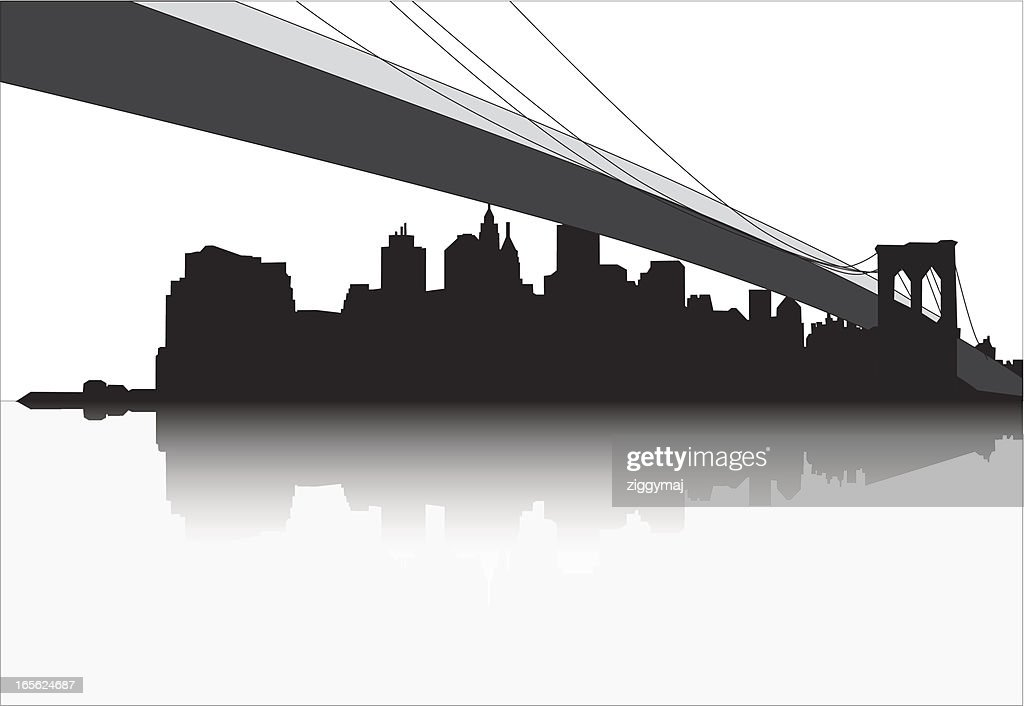 ny skyline with manhattan bridge vector art getty images