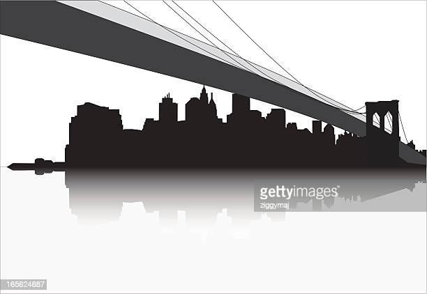 ilustraciones, imágenes clip art, dibujos animados e iconos de stock de horizonte de puente y manhattan de nueva york - puente colgante