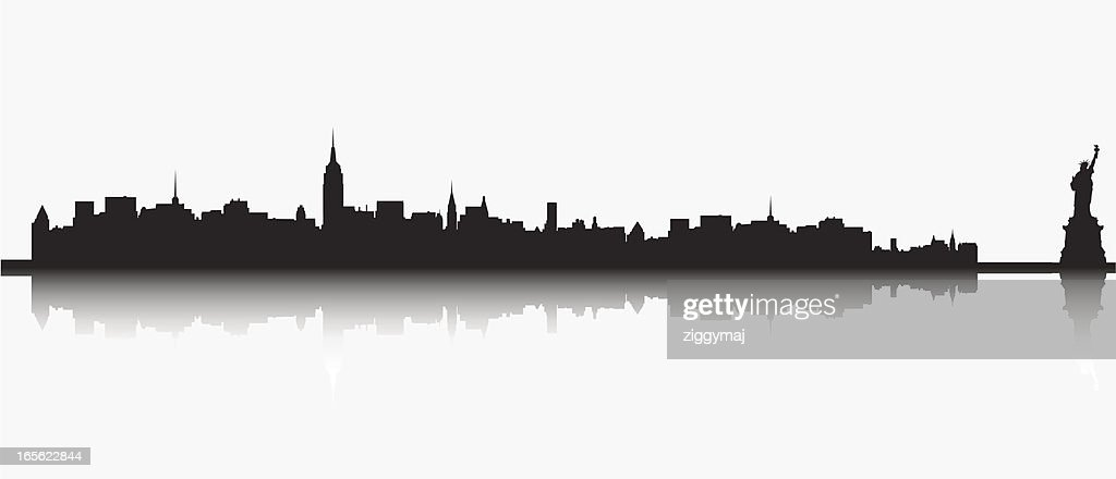 ny skyline with statue of liberty vector art getty images