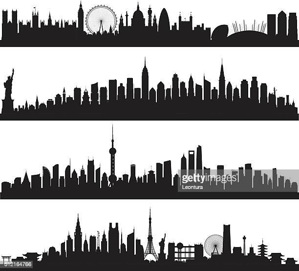 skylines (all buildings are complete and moveable) - skyline stock illustrations