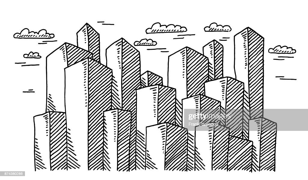 Skyscraper Buildings Drawing stock illustration - Getty Images