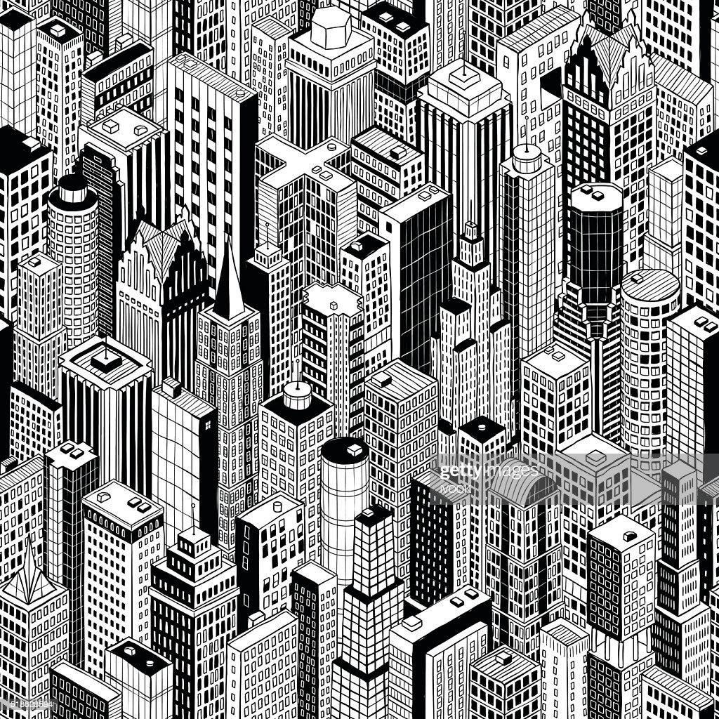 Skyscraper City Seamless Pattern - large