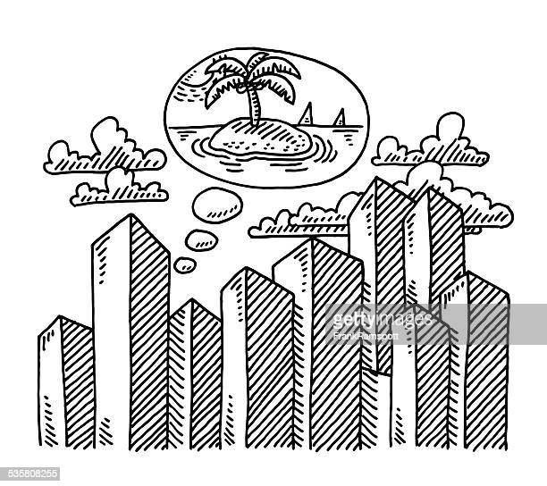 Skyscraper City Thought Bubble Vacation Drawing
