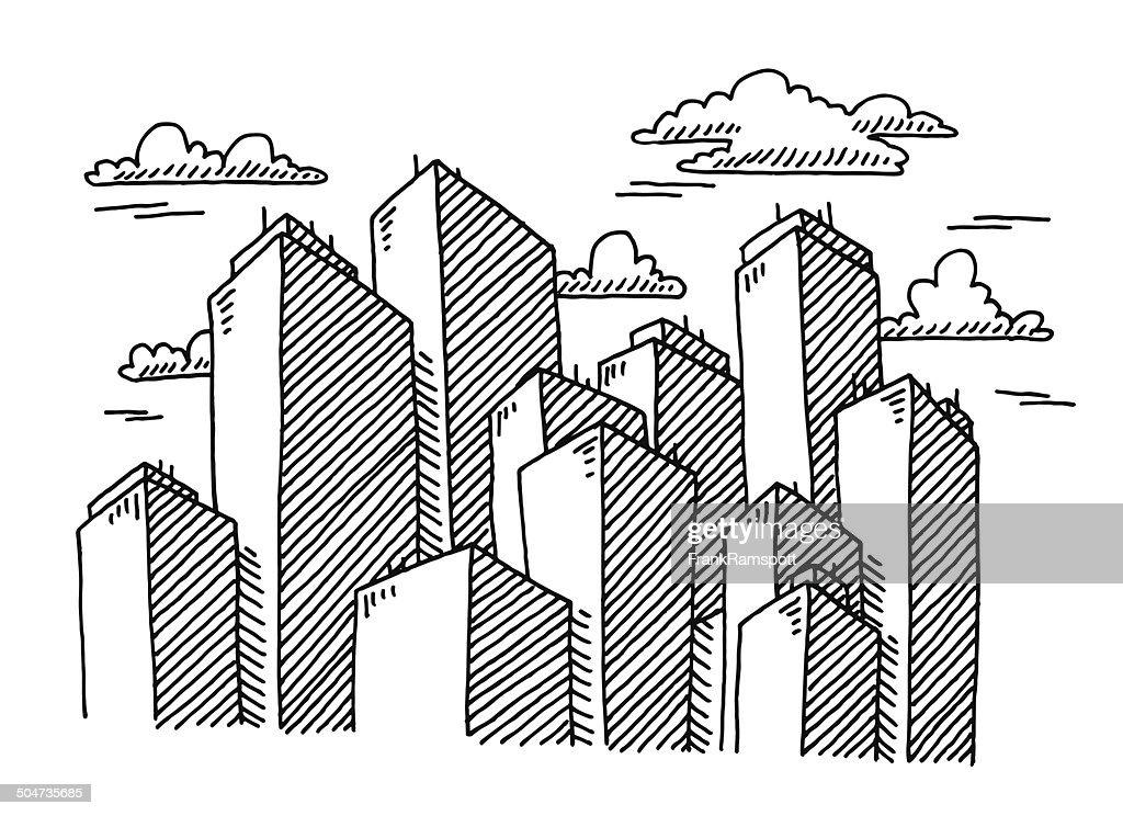 Skyscraper Cityscape Buildings Drawing stock illustration