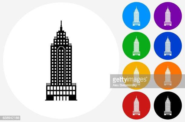 Skyscraper Icon on Flat Color Circle Buttons