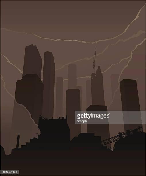 skyscrapers smoke - judgment day apocalypse stock illustrations, clip art, cartoons, & icons