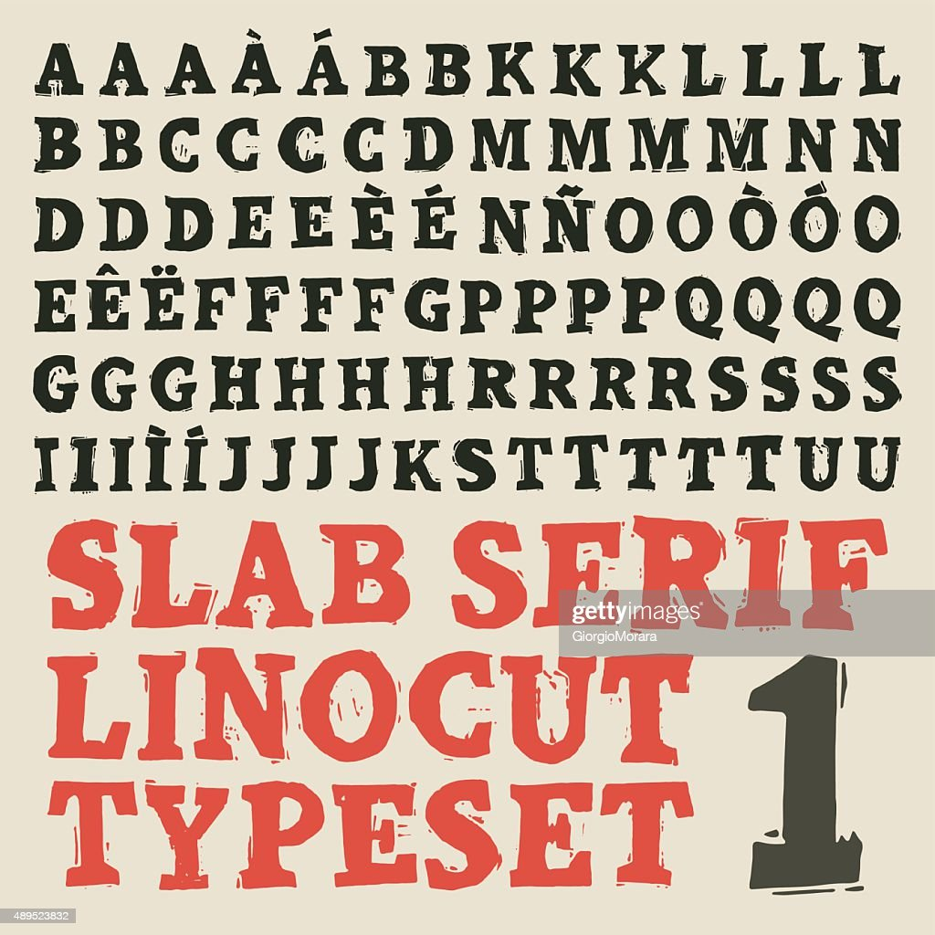 Slab serif linocut typeset