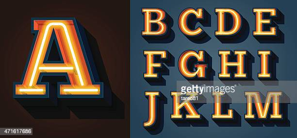 slab serif neon letters - letter a stock illustrations