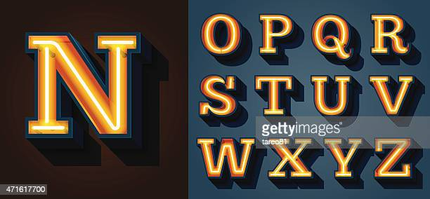 slab serif neon letters - letter d stock illustrations, clip art, cartoons, & icons