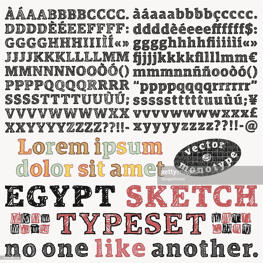 Slab serif sketched font