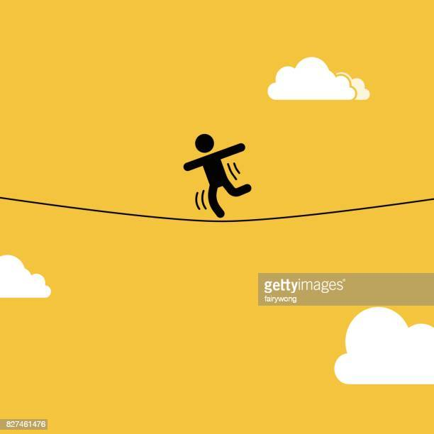 slacklining - steel cable stock illustrations