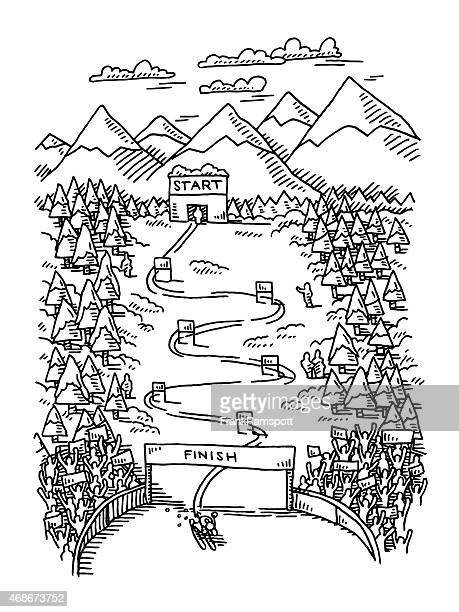 slalom competition skiing slope winter scene drawing - ski racing stock illustrations