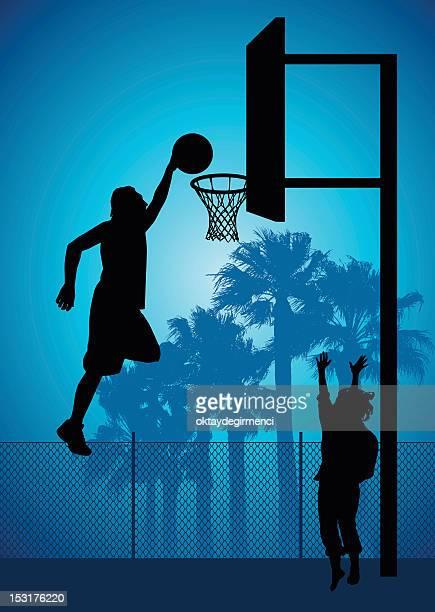 illustrations, cliparts, dessins animés et icônes de slam dunk - panier de basket