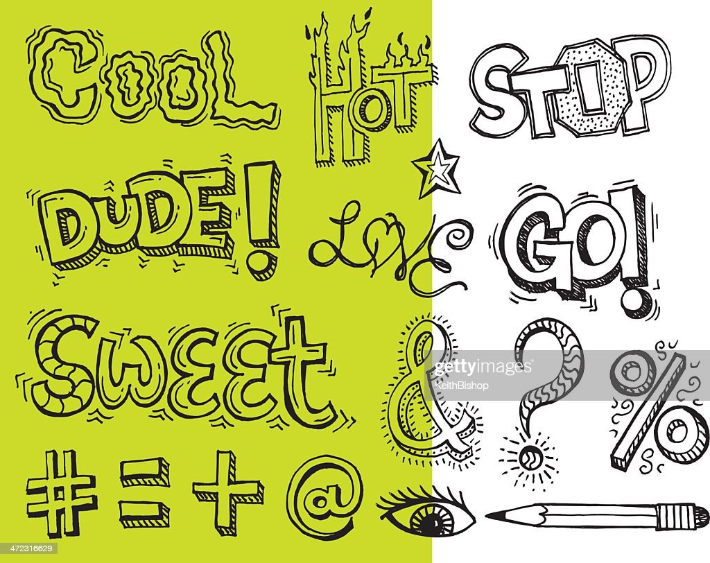 Slang Terms And Symbol Doodles Cool Hot Sweet Vector Art Getty Images
