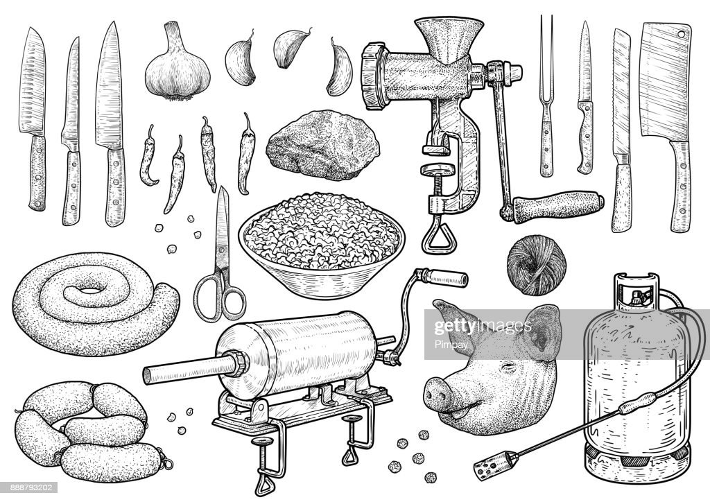 Slaughter ceremony tools illustration, drawing, engraving, ink, line art, vector