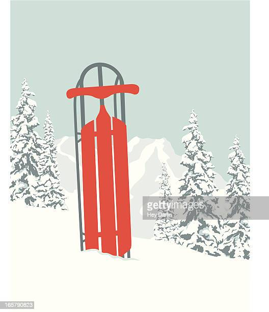 sledding - tobogganing stock illustrations, clip art, cartoons, & icons