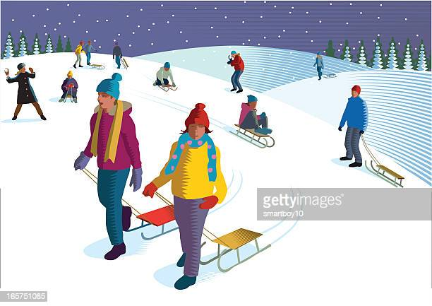sledging - tobogganing stock illustrations, clip art, cartoons, & icons