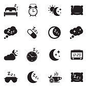 Sleep Icons. Black Flat Design. Vector Illustration.