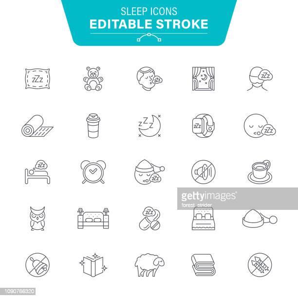 sleep line icons - mattress stock illustrations, clip art, cartoons, & icons