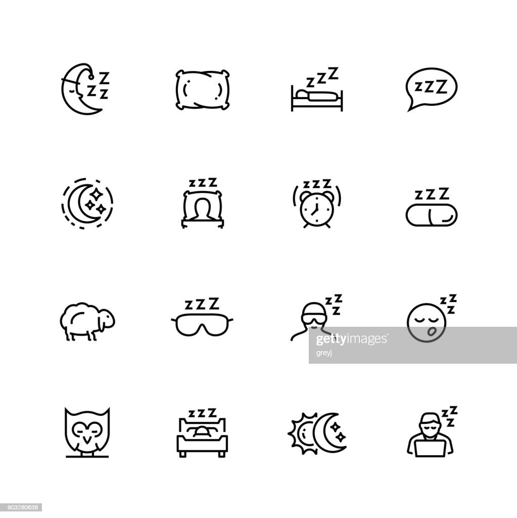 Sleep related vector icon set in thin line style with editable stroke